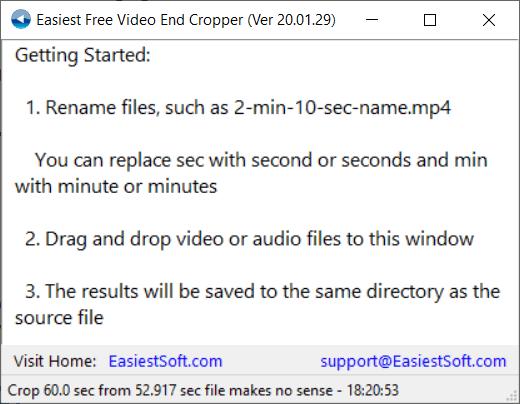 Easiest Free Video End Cropper